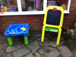 Water and Sand Table with Blackboard